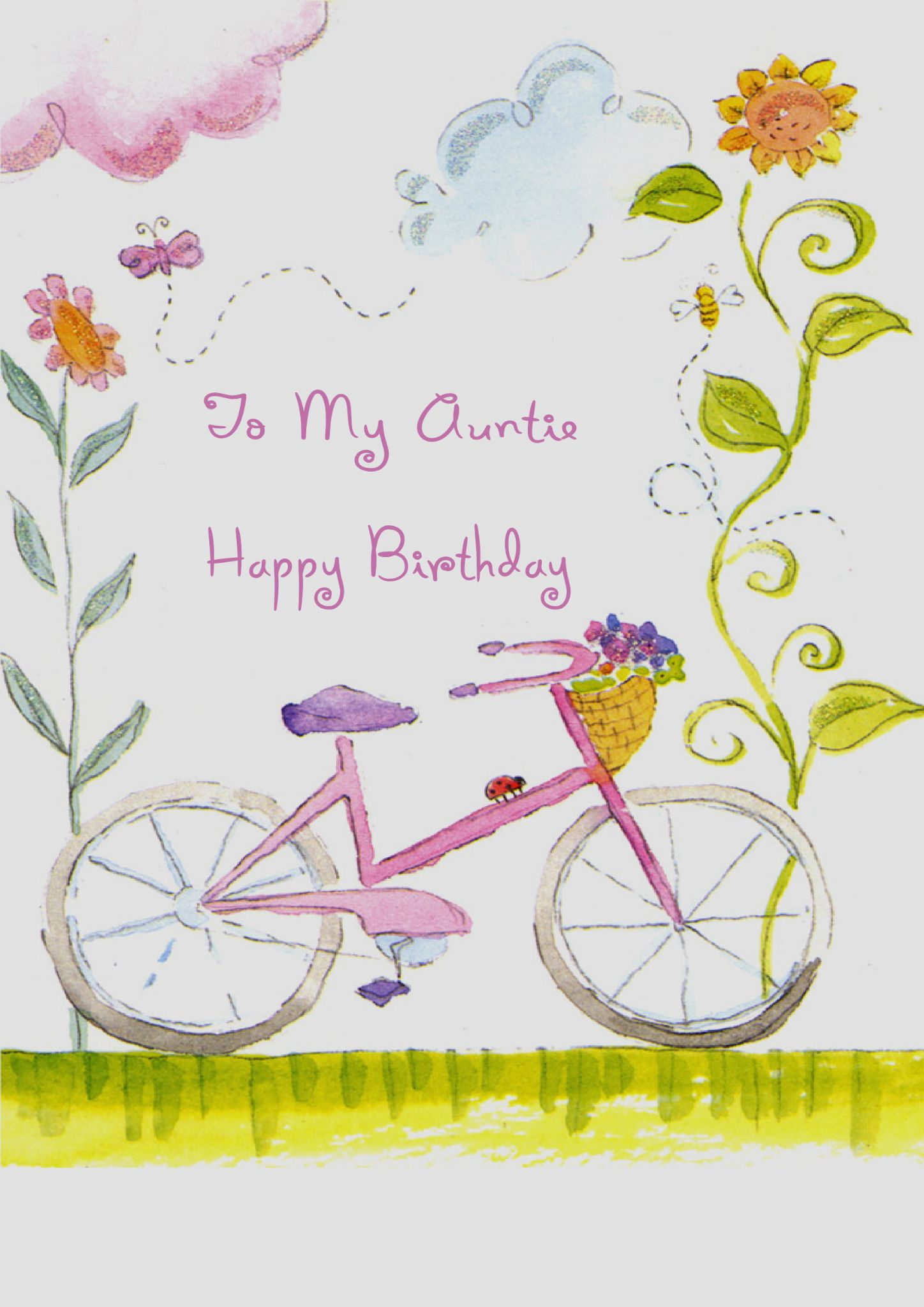 AUNTIE BICYCLE AND FLOWERS